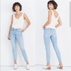 """Madewell 9"""" High Rise Skinny Jeans Button Front 27"""
